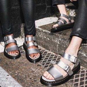 Dr. Martens silver leather sandals w/discount ship